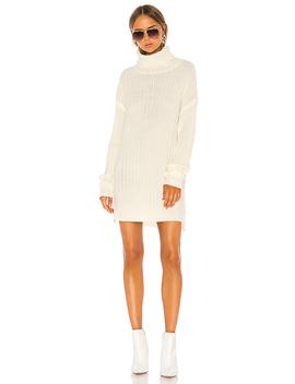 Tyla Turtleneck Slit Dress In Cream by Superdown