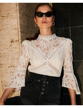 Ecru Lace Top With Crew Neck by The Kooples