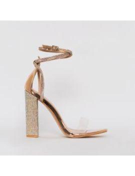 Felicia Rose Gold Clear Diamante Block Heels by Simmigirl