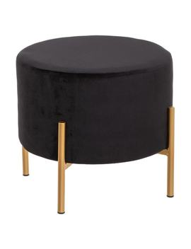 Tabouret Velours Noir Paon by Atmosphera