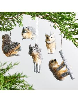Silver Buri Animal Ornaments by Crate&Barrel