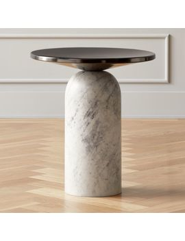 Martini Side Table With White Marble Base by Crate&Barrel