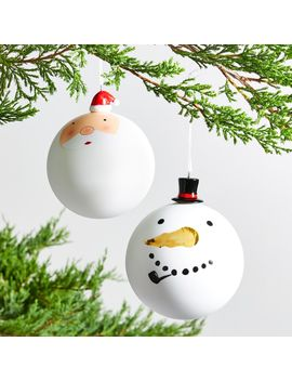 Ball Ornaments With Ceramic Hats by Crate&Barrel