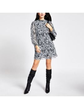 Black Printed Pleated Long Sleeve Swing Dress by River Island