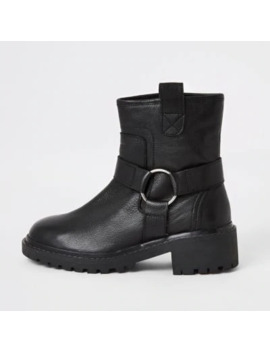 Black Leather Harness Biker Boots by River Island