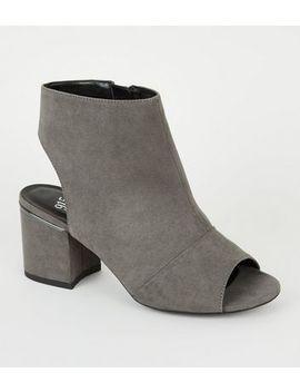 Girls Grey Suedette Peep Toe Block Heels by New Look