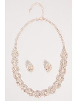 Rose Gold Diamante Jewellery Set by Quiz