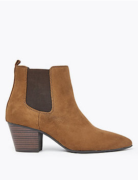 Wide Block Heel Pointed Toe Chelsea Boots by Marks & Spencer