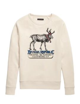 Reindeer Graphic Sweatshirt by Banana Repbulic