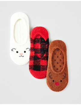 Aeo Cozy Reindeer No Show Socks 3 Pack by American Eagle Outfitters