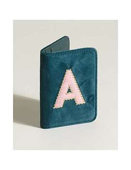 Alphabet Initial Teal Velvet Travel Card Holder by Olivar Bonas