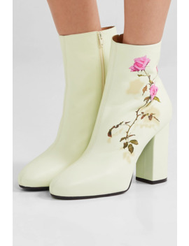 Floral Print Leather Ankle Boots by Dries Van Noten