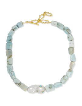+ Pach Tach Larimar, Pearl And Gold Plated Necklace by Pacharee
