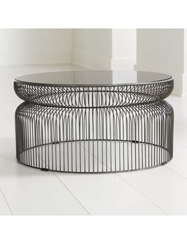 Spoke Smoke Glass Graphite Metal Coffee Table by Crate&Barrel