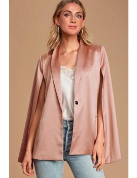 Dressed Smart Mauve Pink Cape Blazer by Lulus