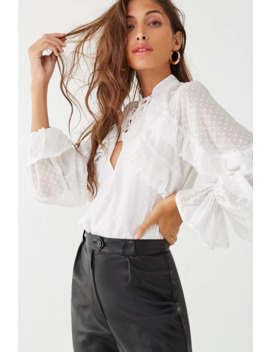 Chiffon Clip Dot Cutout Shirt by Forever 21