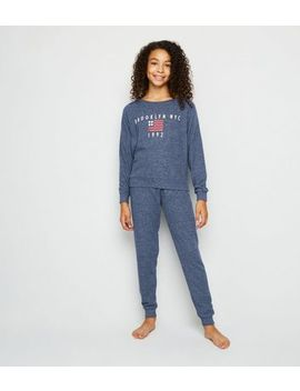 Girls Blue Brooklyn Nyc Jogger Pyjama Set by New Look