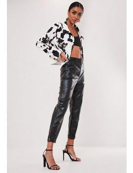 Black Faux Leather Turn Up Hem Cigarette Trousers by Missguided