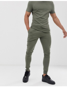 Asos Design Short Sleeve Muscle Tracksuit In Khaki by Asos Design