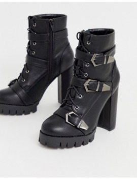 Simmi London Jodie Black Chunky Buckle Detail Boots by Simmi