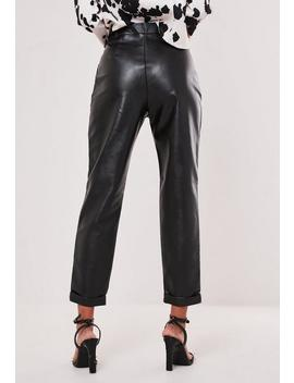 Tall Black Faux Leather Turn Up Hem Cigarette Trousers by Missguided