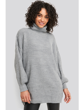 Oversized High Neck Long Knitted Sweater Grau by Na Kd