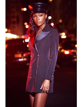 Rebekah Contrast Lapel Double Breasted Blazer Dress   Black by Meshki