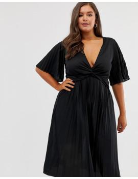Asos Design Curve   Robe Mi Longue Kimono Plissée Avec Détail Torsadé by Asos Design