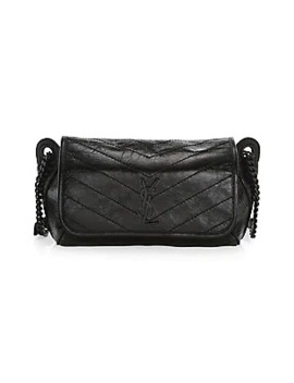 Niki Crinkle Chevron Quilt Leather Messenger & Belt Bag by Saint Laurent