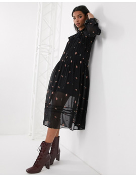 Topshop Midi Dress With Embroidery In Black by Topshop