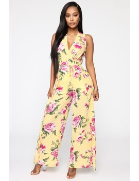 Floral Fiasco Jumpsuit   Yellow by Fashion Nova