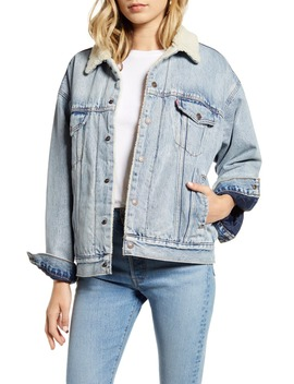 Faux Shearling Trim Oversize Denim Trucker Jacket by Levi's®
