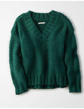 Ae Chunky Knit V Neck Oversized Sweater by American Eagle Outfitters