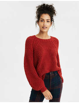 Ae Chunky Knit Crew Neck Oversized Sweater by American Eagle Outfitters