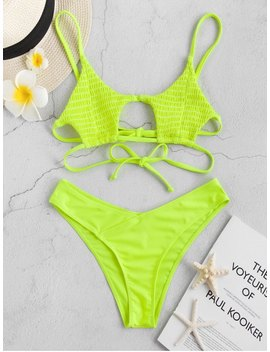 Popular Salezaful Shirred Strappy Neon Bikini Set   Green Yellow S by Zaful