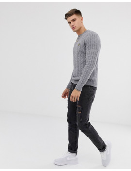 Lyle &Amp; Scott Cable Knit Crew Neck Wool Blend Jumper In Grey by Lyle & Scott
