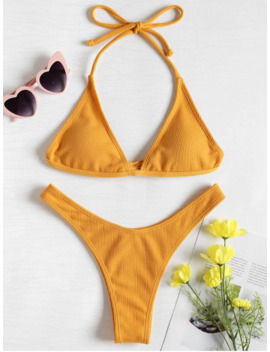 Popular Salezaful Ribbed High Leg Bikini Set   Bright Yellow S by Zaful