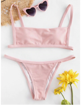 Popular Sale Ribbed Hook String Bikini Set   Pig Pink S by Zaful