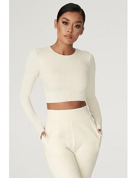 Emely Long Sleeve Crop Top    Sand by Meshki