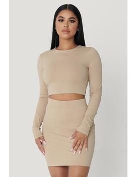 Emely Long Sleeve Crop Top    Almond by Meshki