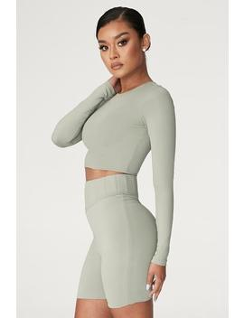 Emely Long Sleeve Crop Top    Sage by Meshki