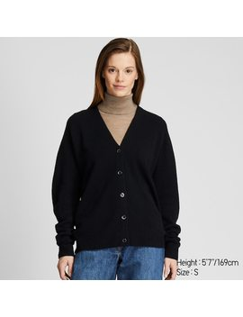 Women 3 D Seamless Knit Premium Lambswool Cocoon Silhouette Cardigan (1) by Uniqlo
