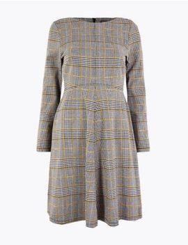 Petite Checked Fit & Flare Dress by Marks & Spencer