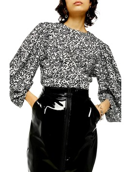 Animal Print Balloon Sleeve Blouse by Topshop
