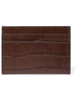 Croc Effect Leather Cardholder by Dries Van Noten