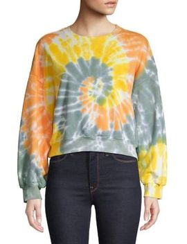 Tie Dye Cotton Cropped Sweatshirt by Agolde