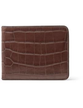 Croc Effect Leather Billfold Wallet by Dries Van Noten