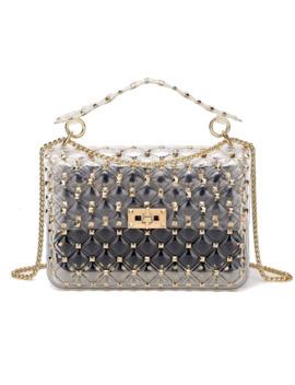 2019 New Fashion Rivet Transparent Beach Designer Bags Tote Bags For Women Diamond Lattice Crossbody Bag Jelly Clear Purse by Ali Express.Com