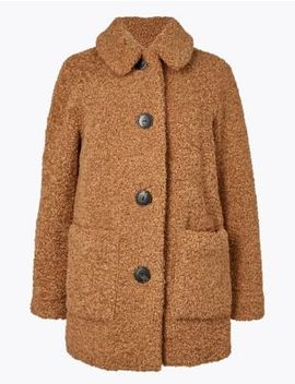 Petite Borg Faux Fur Coat by Marks & Spencer