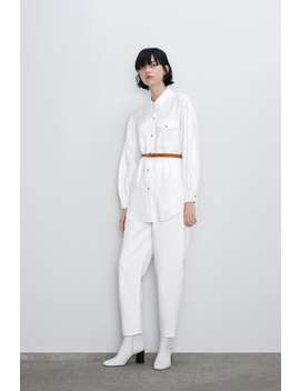 Cotton Shirt With Belt by Zara